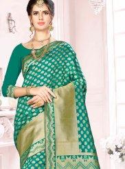 Sea Green Art Silk Ceremonial Traditional Saree