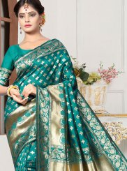 Sea Green Art Silk Festival Traditional Designer Saree