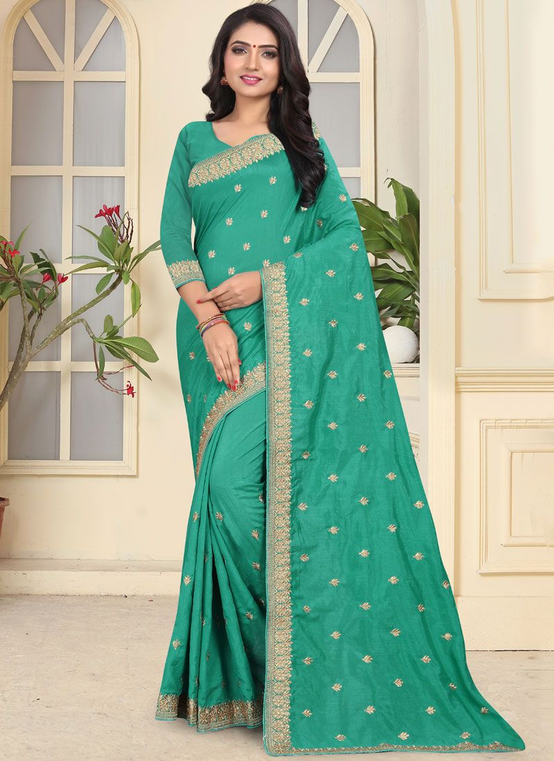 Sea Green Art Silk Patch Border Traditional Saree