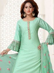 Sea Green Art Silk Readymade Suit