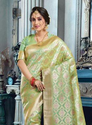Sea Green Art Silk Weaving Classic Saree