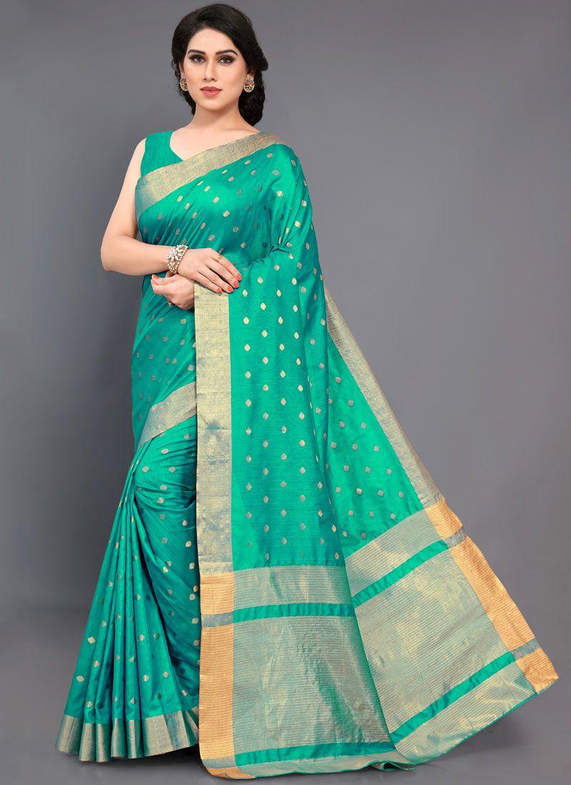 Sea Green Art Silk Woven Designer Traditional Saree