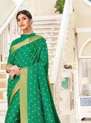 Sea Green Art Silk Woven Traditional Saree