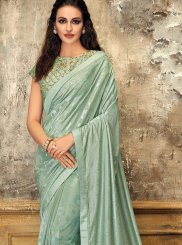 Sea Green Bridal Lycra Designer Saree