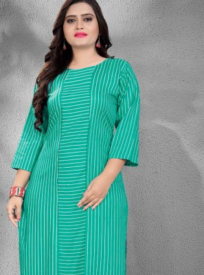 Sea Green Casual Casual Kurti