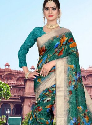 Sea Green Casual Printed Saree
