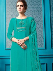 Sea Green Ceremonial Cotton Designer Palazzo Suit