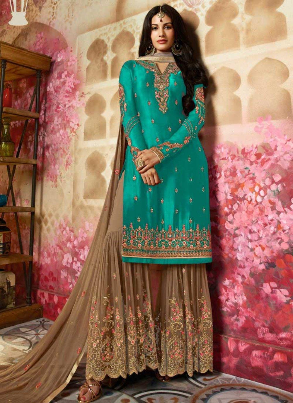 Sea Green Ceremonial Georgette Satin Designer Pakistani Suit