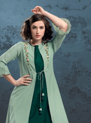 Sea Green Ceremonial Muslin Casual Kurti