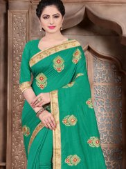 Sea Green Ceremonial Poly Silk Classic Designer Saree