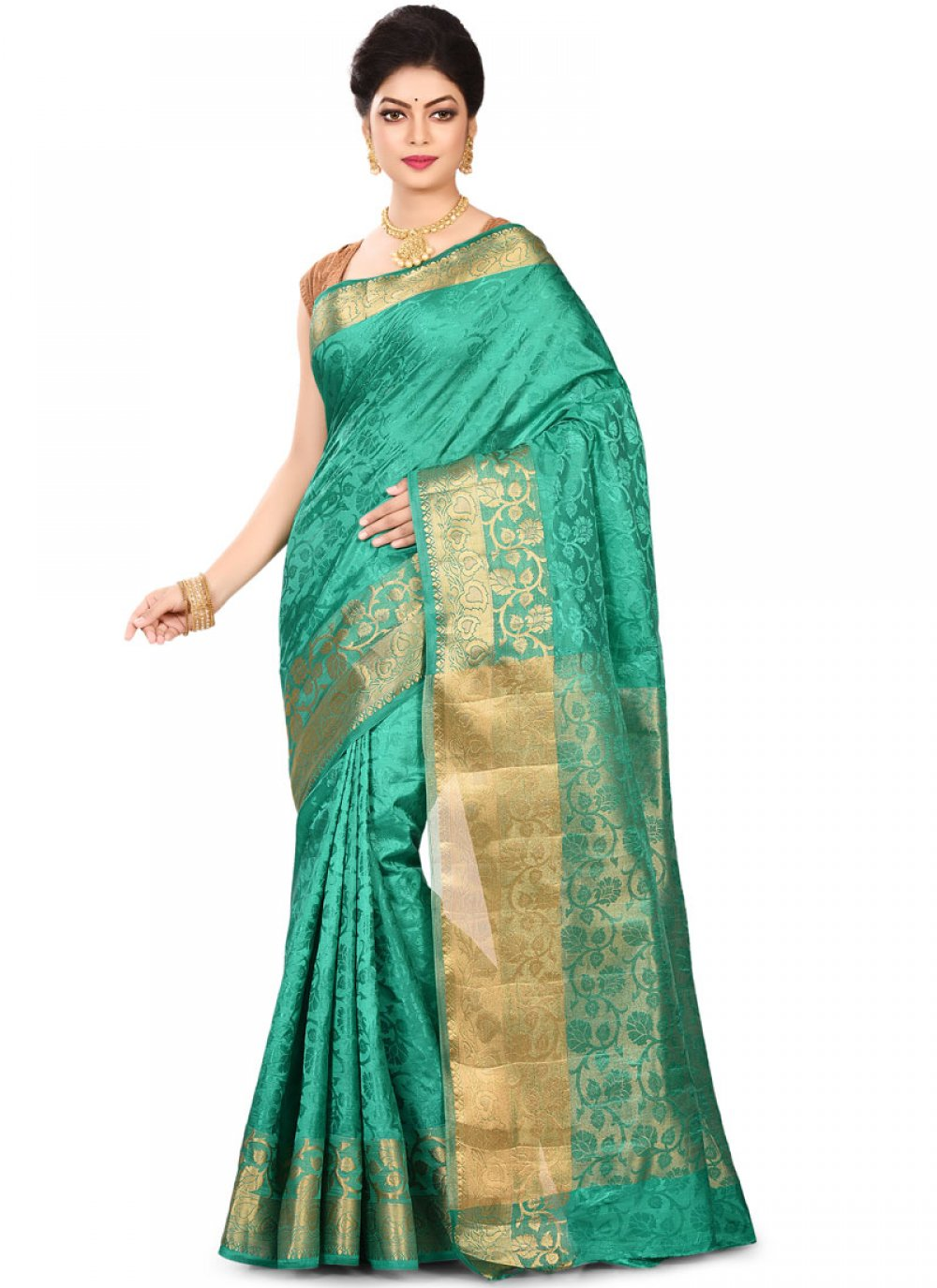 Sea Green Ceremonial Traditional Designer Saree