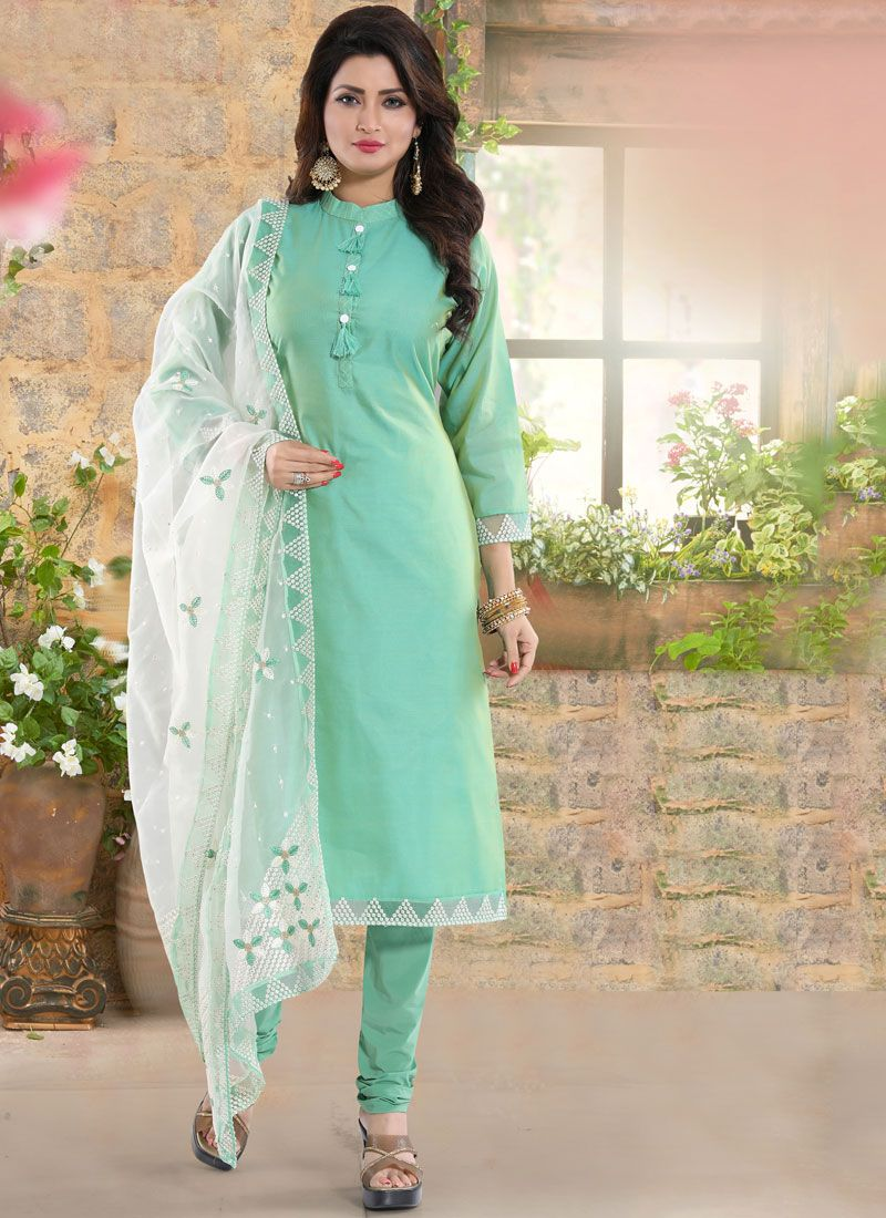 Sea Green Chanderi Ceremonial Readymade Suit