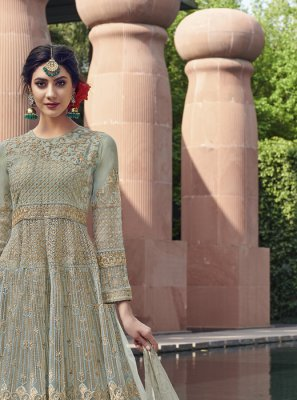 Sea Green Color Anarkali Salwar Kameez