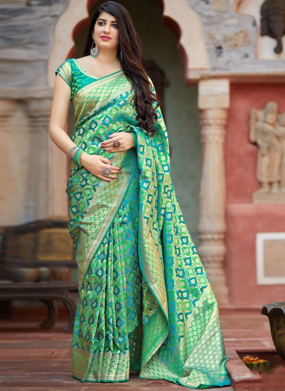 Sea Green Color Classic Saree