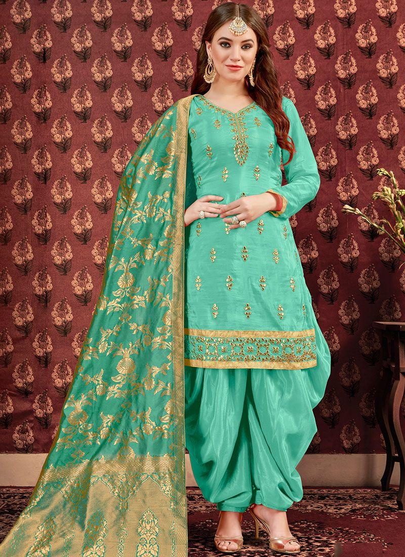 Sea Green Color Designer Patiala Suit
