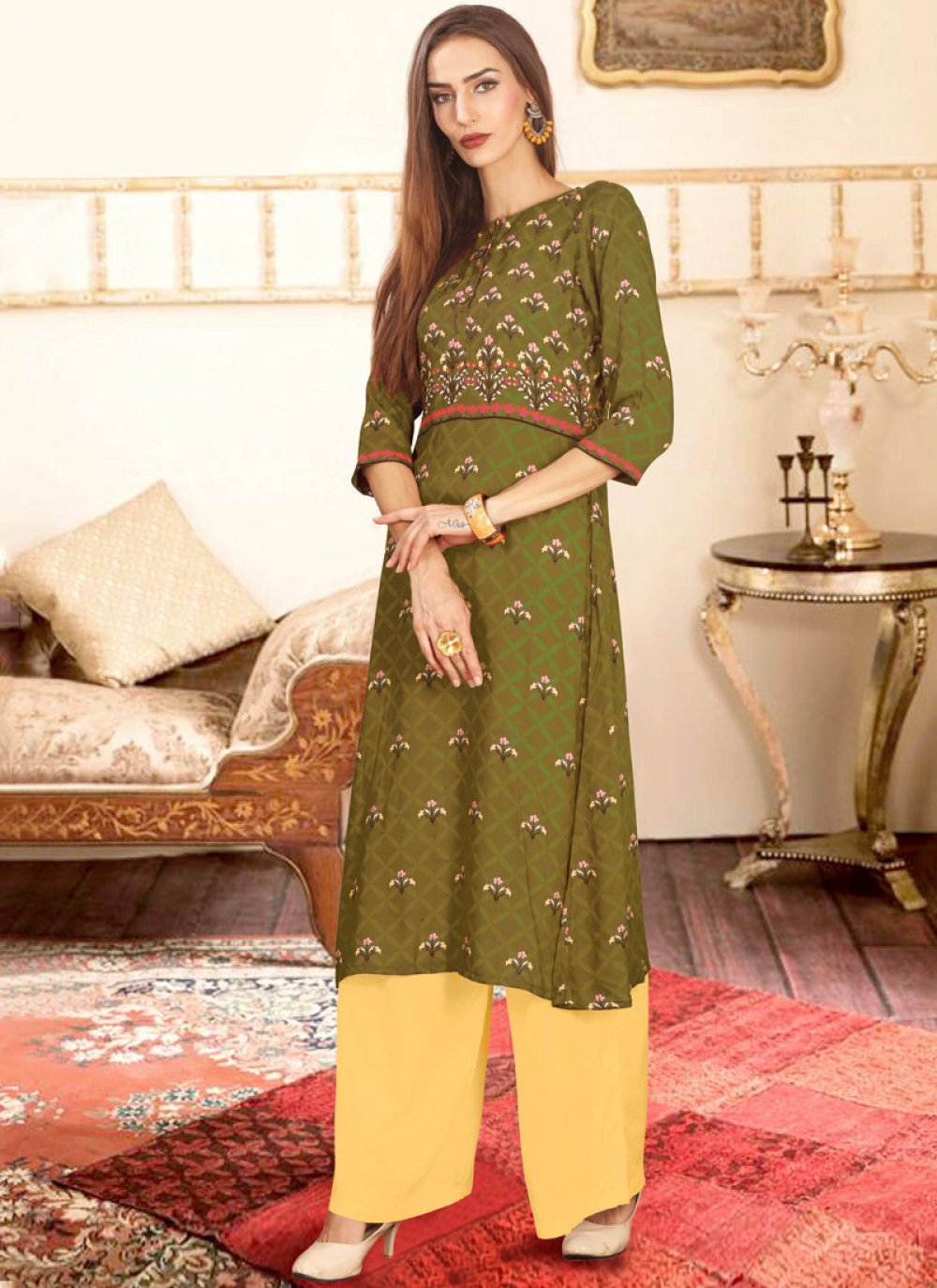 Sea Green Color Palazzo Salwar Suit