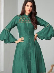 Sea Green Color Party Wear Kurti
