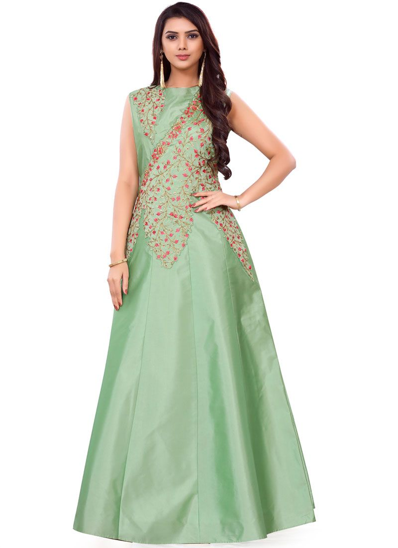 b73be49788 Buy Online Sea Green Color Readymade Gown : 106924 -