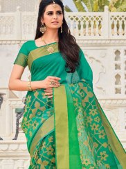 Sea Green Color Traditional Designer Saree