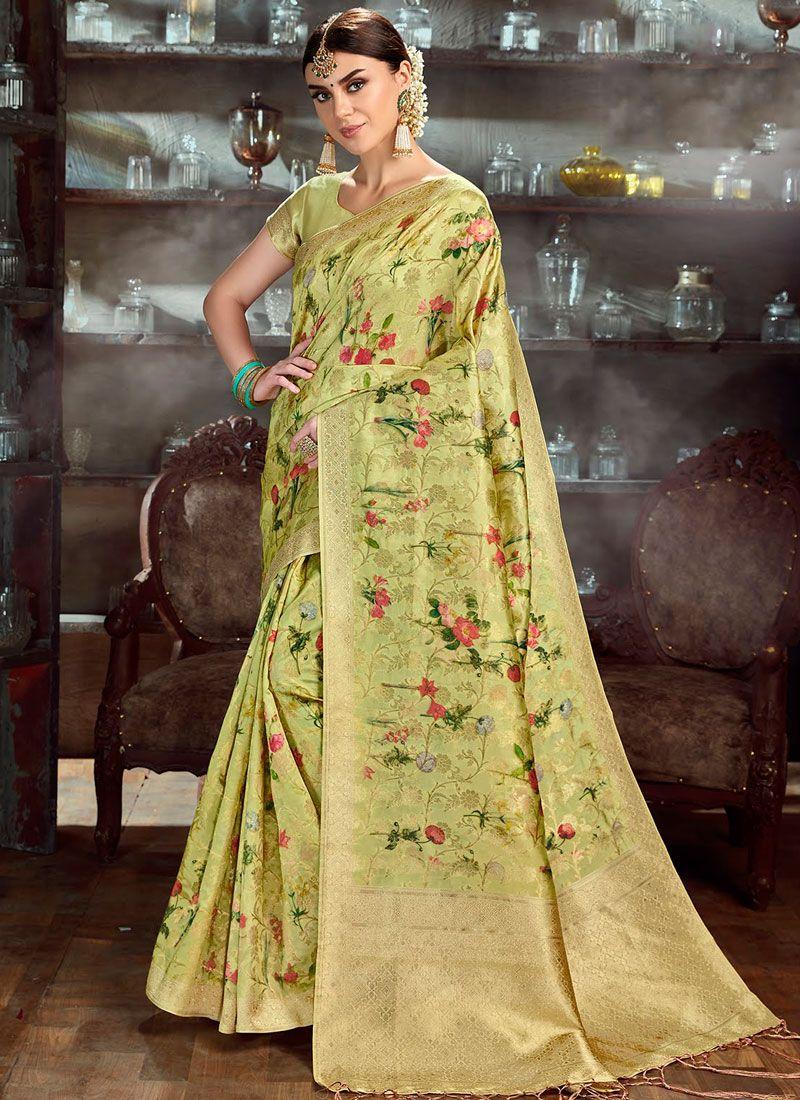 Sea Green Color Traditional Saree