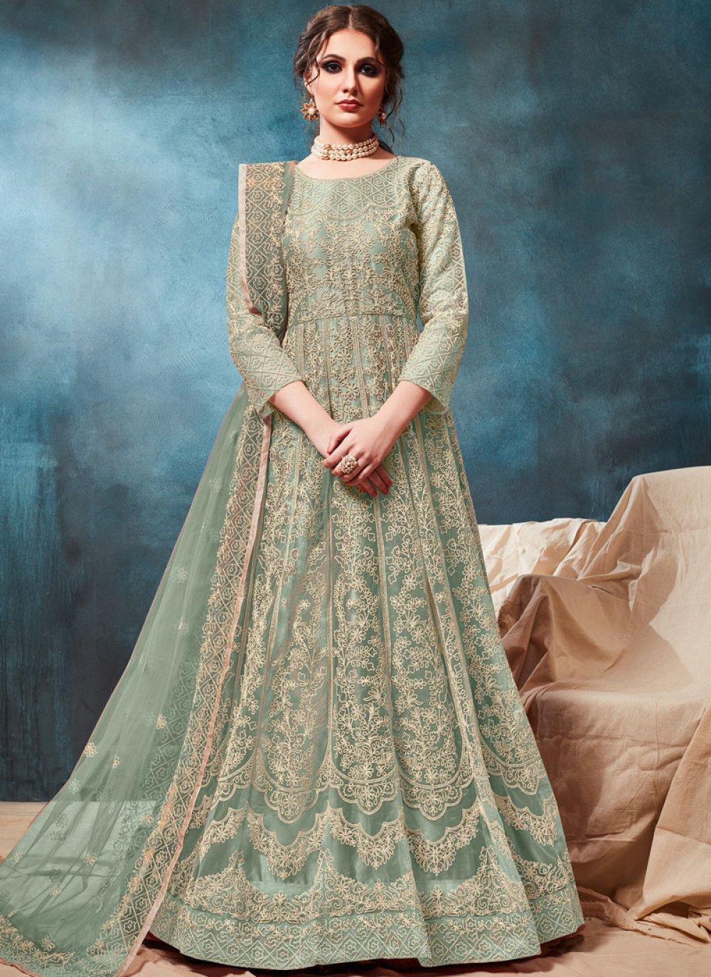 Sea Green Color Trendy Anarkali Salwar Kameez