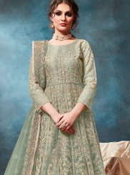 Sea Green Color Trendy Anarkali Salwar Kameez