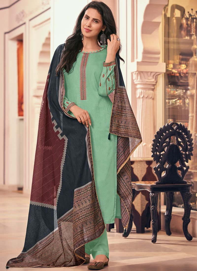 Sea Green Cotton Casual Pant Style Suit