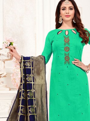 Sea Green Cotton Festival Churidar Suit