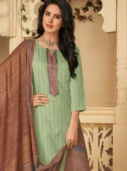 Sea Green Cotton Pant Style Suit