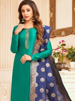 Sea Green Cotton Silk Designer Straight Suit
