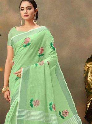 Sea Green Cotton Trendy Saree