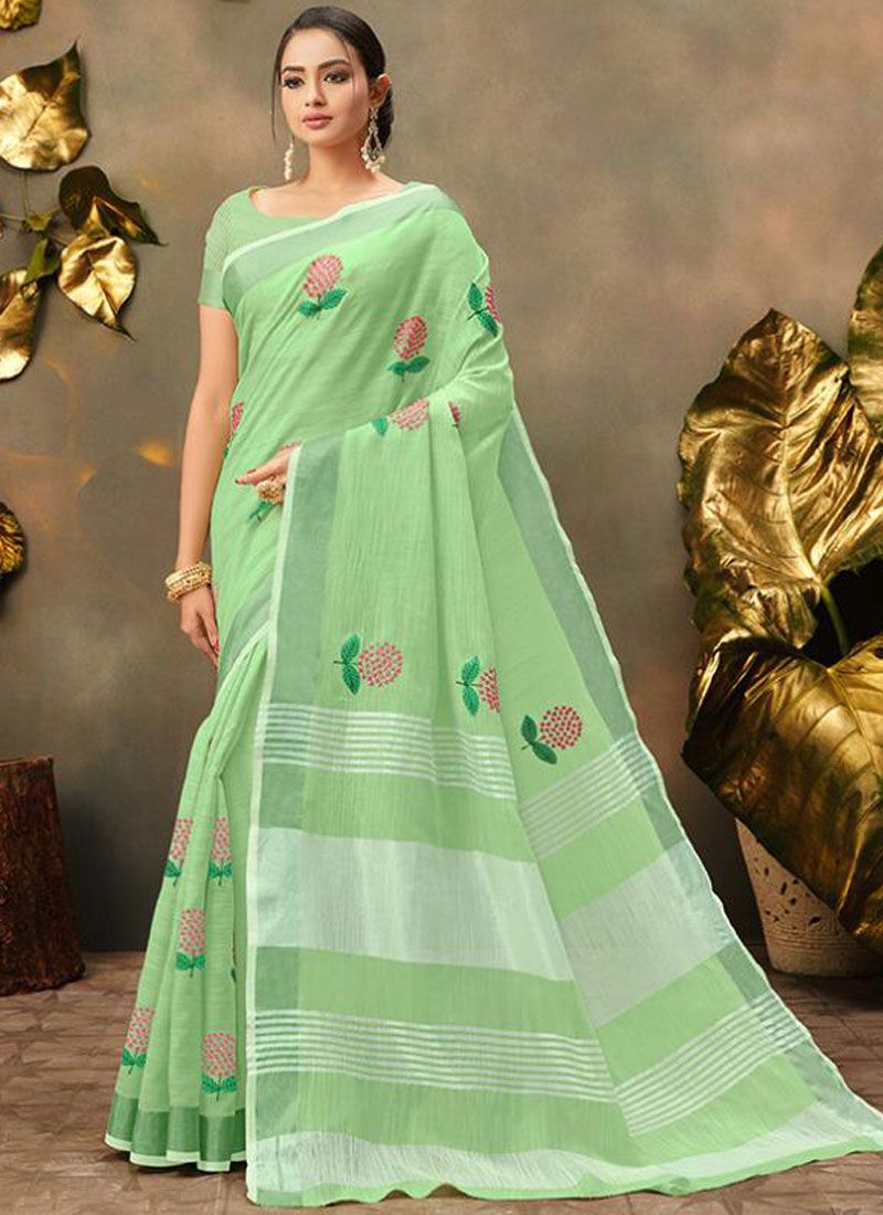 Sea Green Cotton Trendy Saree