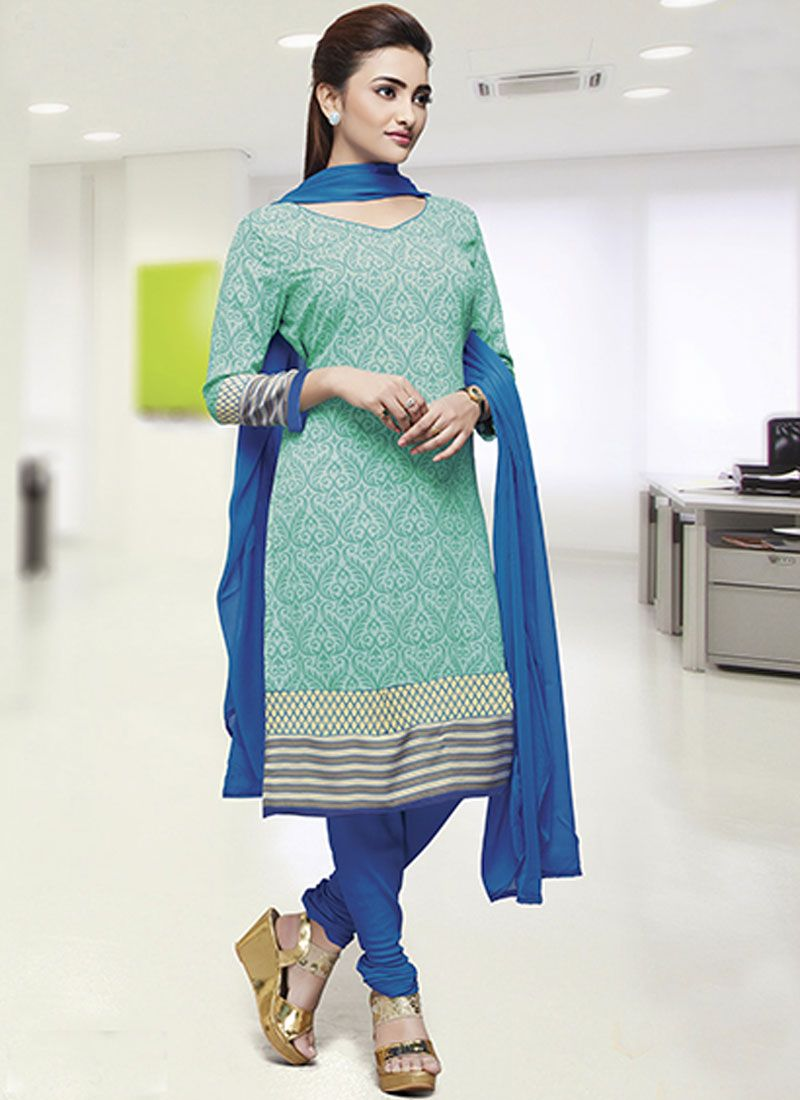 Sea Green Crepe Silk Print Salwar Kameez