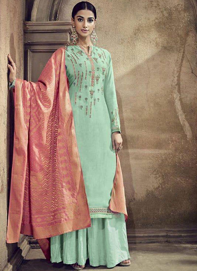 Sea Green Designer Palazzo Suit