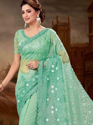 Sea Green Embroidered Bridal Classic Saree