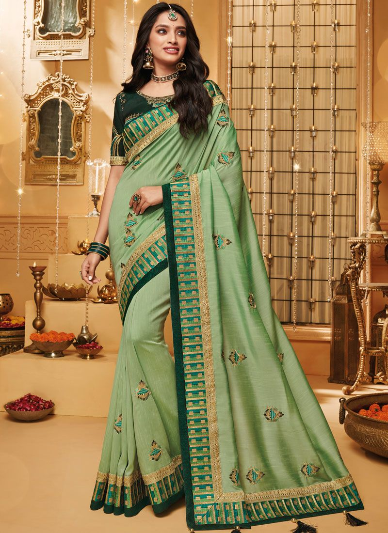 Sea Green Embroidered Fancy Fabric Trendy Saree