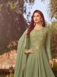 Sea Green Embroidered Faux Georgette Floor Length Anarkali Suit