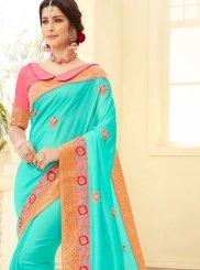 Sea Green Embroidered Festival Traditional Designer Saree