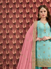 Sea Green Embroidered Georgette Designer Salwar Kameez