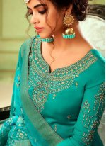 Sea Green Embroidered Georgette Pant Style Suit
