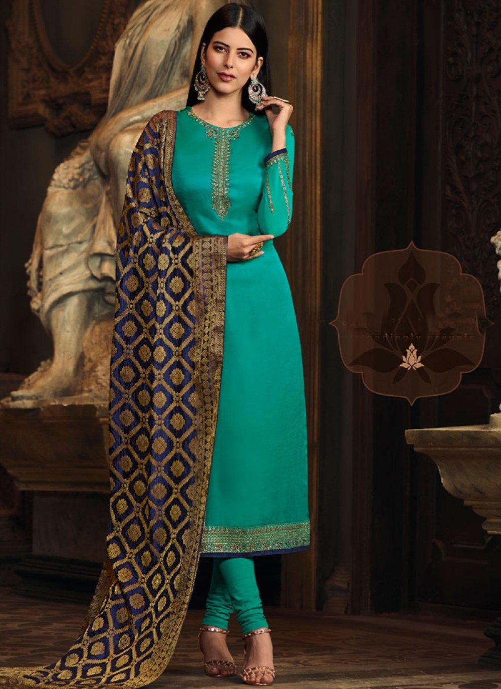 Sea Green Embroidered Georgette Satin Designer Straight Suit