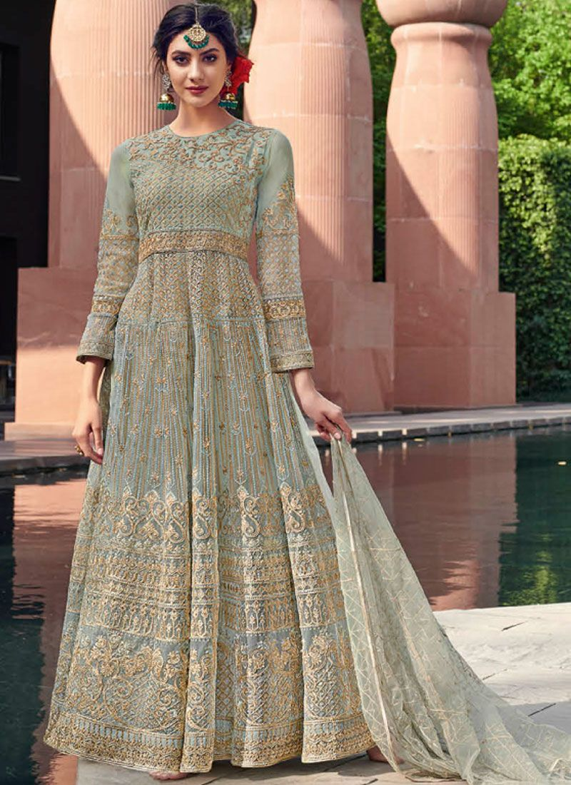 Sea Green Embroidered Mehndi Trendy Gown