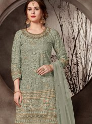 Sea Green Embroidered Net Designer Palazzo Salwar Kameez