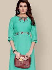 Sea Green Embroidered Party Wear Kurti