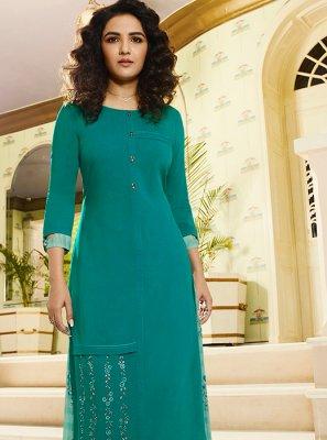 Sea Green Embroidered Rayon Party Wear Kurti
