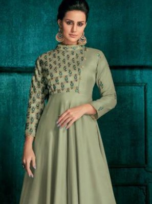 Sea Green Embroidered Silk Anarkali Suit