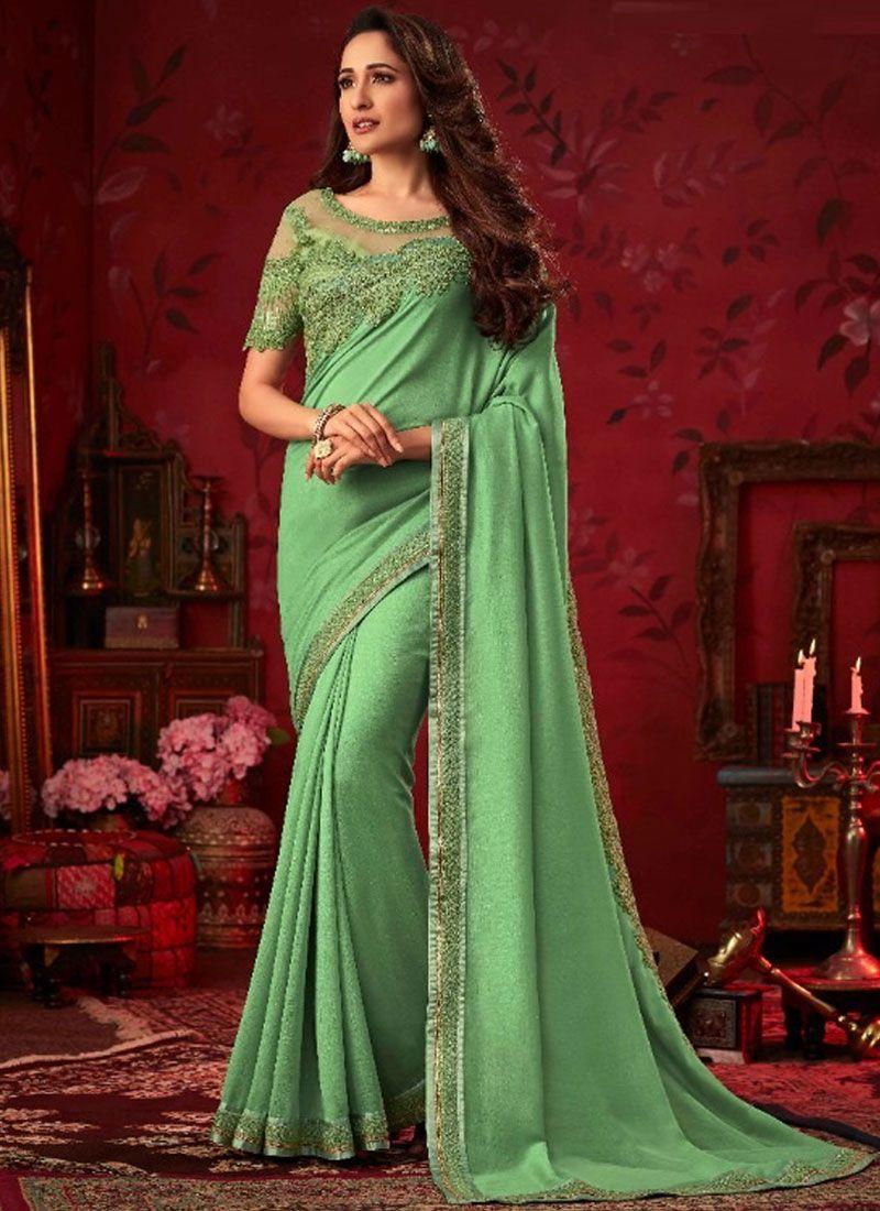 Sea Green Embroidered Silk Traditional Saree
