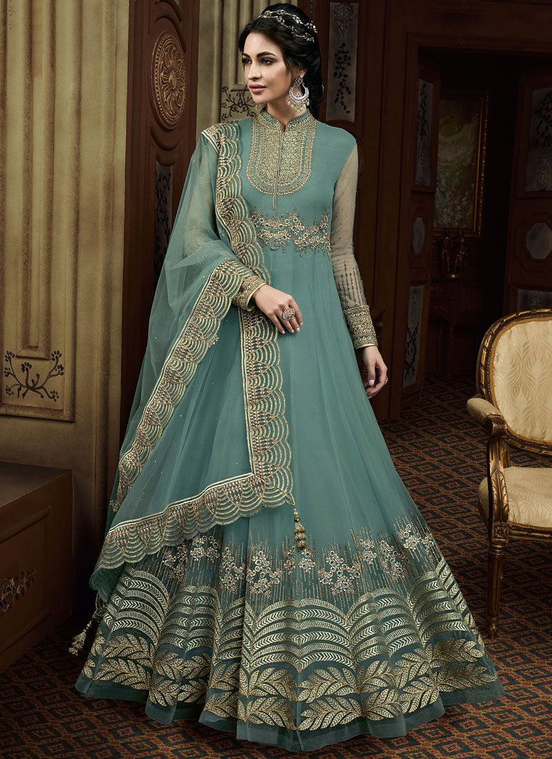 Sea Green Embroidered Trendy Anarkali Salwar Kameez