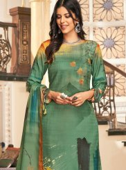 Sea Green Embroidered Trendy Palazzo Suit