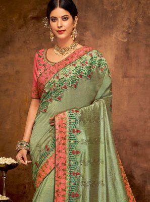 Sea Green Embroidered Wedding Classic Designer Saree